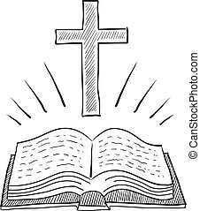 bibbia, schizzo, croce