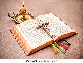 bibbia, tavola, aperto