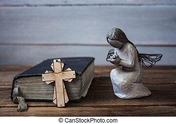 bibbia, vecchio, angelo, legno, croce, fondo