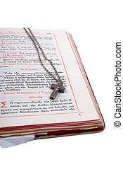 bibbia, vecchio, cuoio, coperchio, croce, aperto, argento