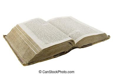 bibbia, vecchio, molto, vendemmia, sopra, isolato, fondo, bianco, lettura, aperto