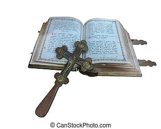 bibbia, vecchio, secolo, sopra, isolato, croce, 19, bianco