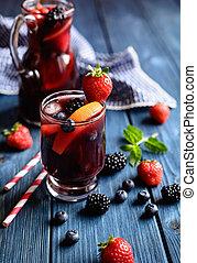 bibita frutta, vino, tradizionale, bacche, sangria, rosso, tropicale