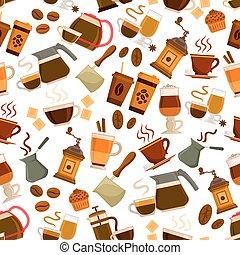 bibite, caffè, modello, seamless, dessert, vettore