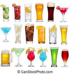 bibite, cocktail, differente, set, birra