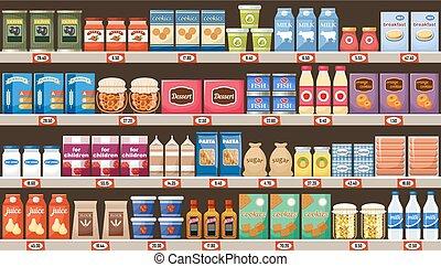 bibite, supermercato, prodotti, mensole