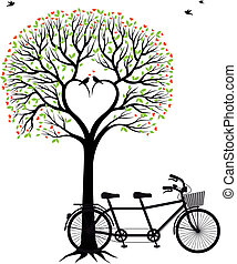 bicicletta, cuore, albero, uccelli
