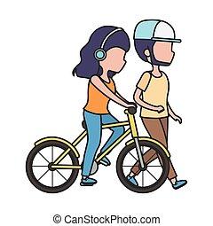 bicicletta, donna uomo, cuffie, sentiero per cavalcate, camminare