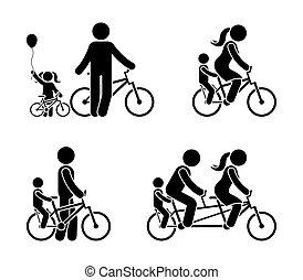 bicicletta, figura, famiglia, pictogram, bastone, sentiero per cavalcate
