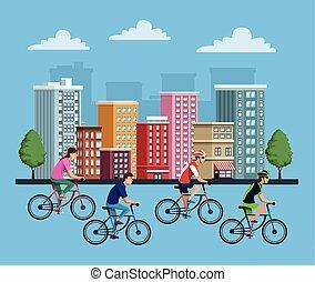 bicicletta, gruppo, persone, città