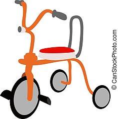 bicicletta, illustrazione, bambini, bianco, vettore, fondo.