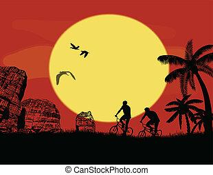 bicicletta montagna, selvatico, bicicletta, cavalieri