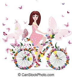 bicicletta, ragazza, fiore