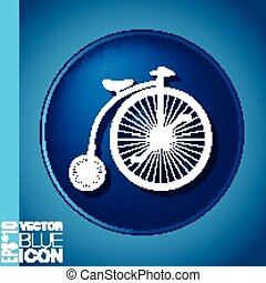 bicicletta, retro, icona