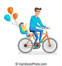 bicicletta, suo, ciclismo, seduta, sicuro, boy., indietro, illustrazione, vettore, appartamento, posti, disegno, capretto, uomo