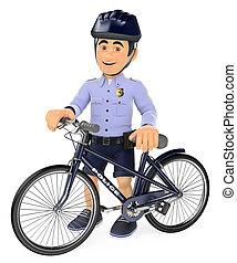 bicicletta, suo, polizia, 3d, calzoncini