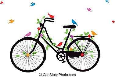 bicicletta, vecchio, vettore, uccelli