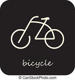bicicletta, vettore, -, icona