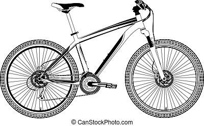 bicicletta, vettore, montagna