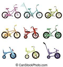 biciclette, differente, bambini, colorito, set, cornice, bicycles, vettore, vario, illustrazioni, tipo, tipi