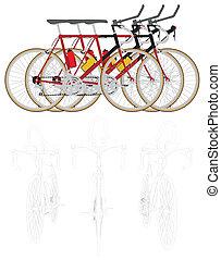 biciclette, linea, corsa, tre