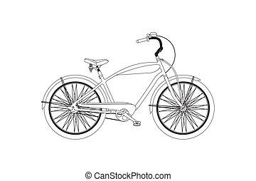 bicycle., vettore, retro