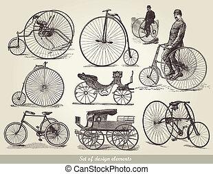 bicycles, set, vecchio