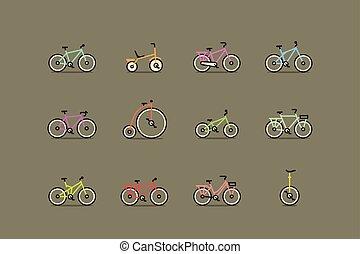 bicycles., vettore, set, colorito, icona