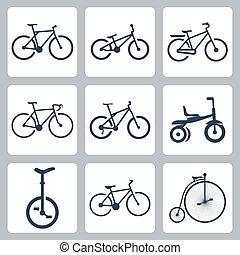bicycles, vettore, set, isolato, icone