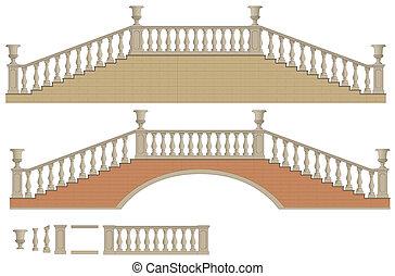 bidirezionale, vettore, ponte, scala