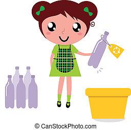 bidone, carino, immondizia, riciclaggio, riciclare, ragazza