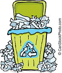 bidone, carta, rifiuti, riciclaggio, /