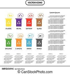 bidone, informazioni, rifiuti, icona, riciclare, categories, grafico
