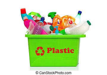 bidone, riciclaggio, isolato, plastica, verde bianco