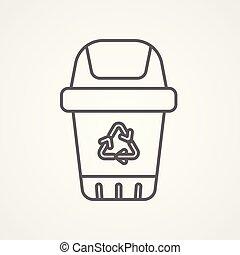 bidone, simbolo, segno, vettore, riciclare, icona