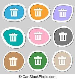 bidone, symbols., vettore, variopinto, carta, riciclare, stickers., icona