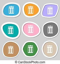 bidone, vettore, segno, simbolo., variopinto, carta, riciclare, icon., stickers.