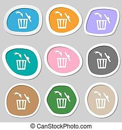 bidone, vettore, segno, variopinto, carta, riciclare, icon., stickers.