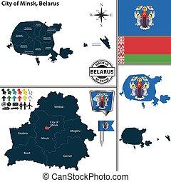 bielorussia, minsk, mappa, città
