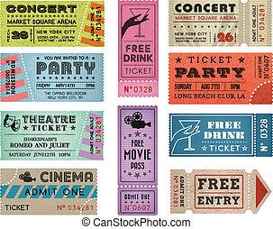 biglietti, 3, vettore, grunge, collezione