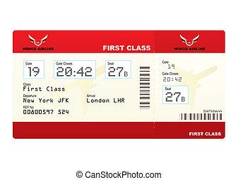 biglietti, aereo, classe, primo