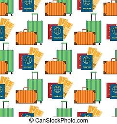 biglietti, appartamento, passaporto, cittadinanza, modello, viaggiare, viaggiatore, seamless, aria, vettore, disegno, fondo, valigia, internazionale, documento, illustration.