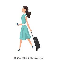 biglietti, camminare, donna, giovane, illustrazione, aeroporto, vettore, brunetta, valigia, ruote