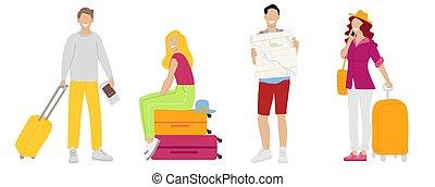 biglietti, donna, set, persone, viaggiare, illustrazione, tuo, vettore, telefono., valigia, disegno, uomo, template., scheda, design.