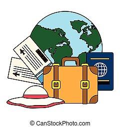 biglietti, mondo, vacanze, passaporto, valigia