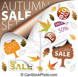 biglietti, set, stagione, etichette, vendita, (fall)