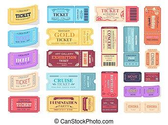 biglietti, vettore, illustrazione, colorito, collezione