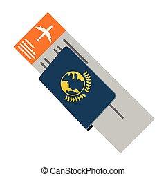 biglietto aeroplano, passaporto, icona