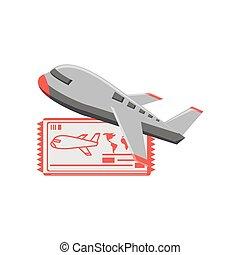 biglietto, aeroplano, viaggiare