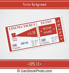 biglietto, retro, cinema